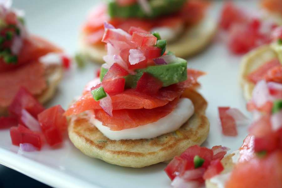 Smoked Salmon on Corn Pancakes…spicy, delicious and gluten free