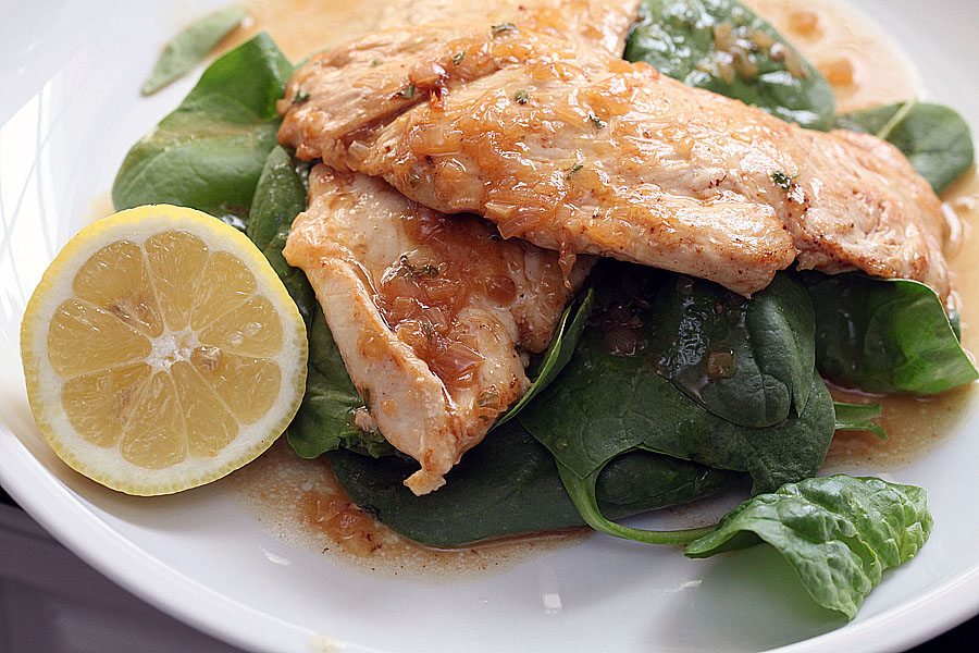 Lemon Chicken with Fresh Spinach