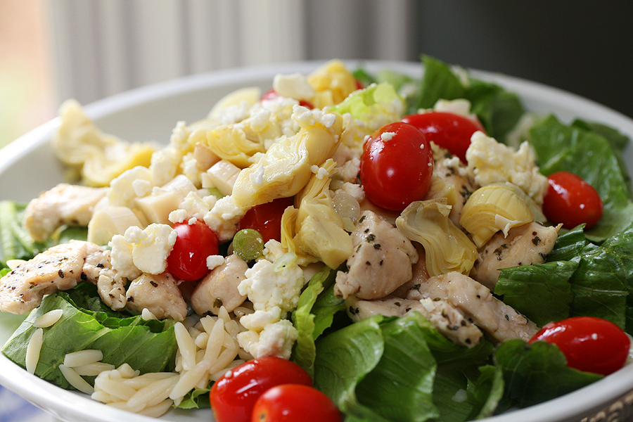 Greek Orzo and Chicken Salad