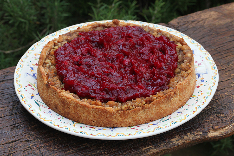 Deep Dish Pumpkin Pie with Walnut Crunch and Cranberries