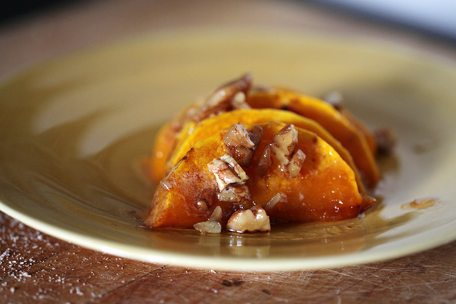 Roasted Squash with Pecans and Honey