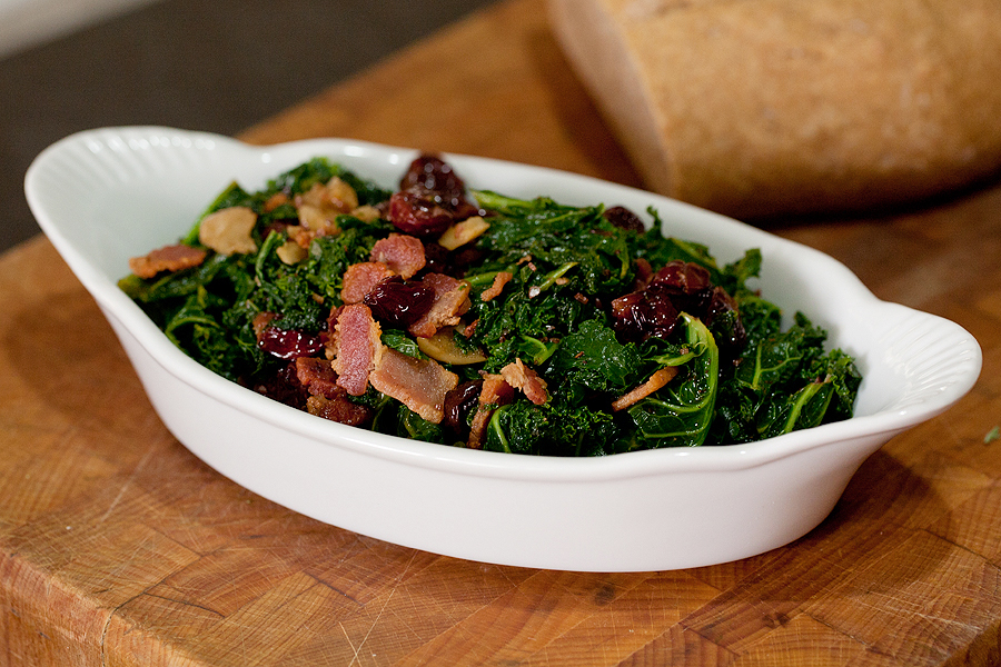 Kale with Bacon and Cherries