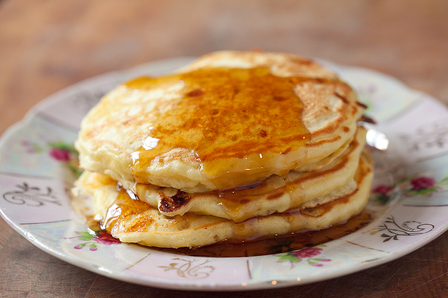 photos of a stack of cottage cheese pancakes