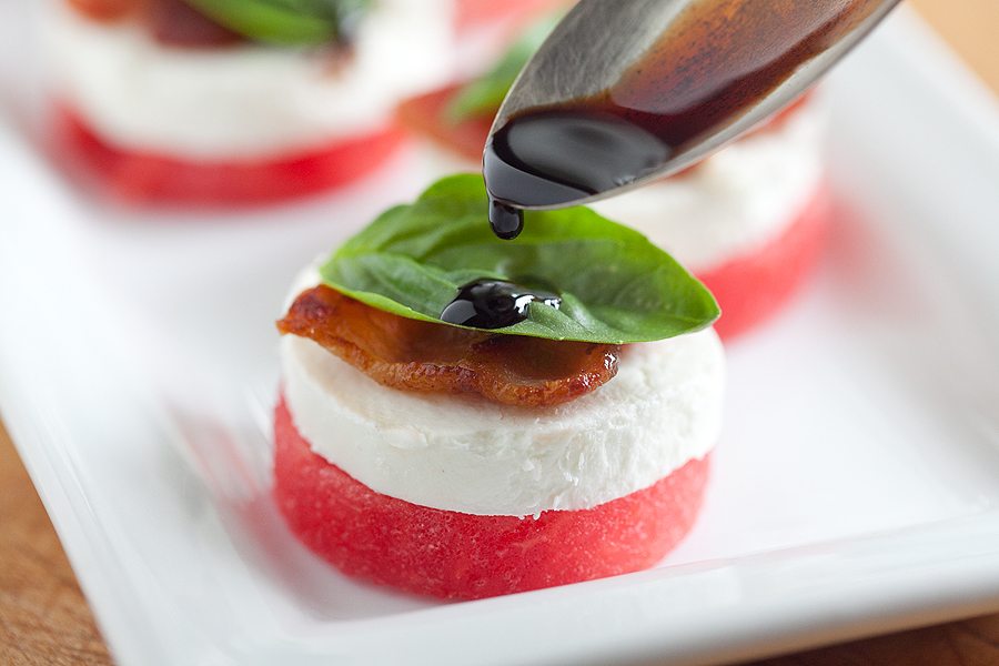photo of watermelon and goat cheese appetizer