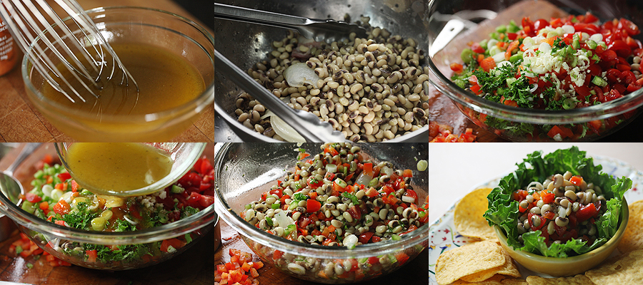 photos of mixing black eyed peas for texas caviar