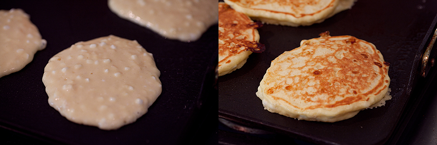 photos of cottage cheese pancakes on the griddle