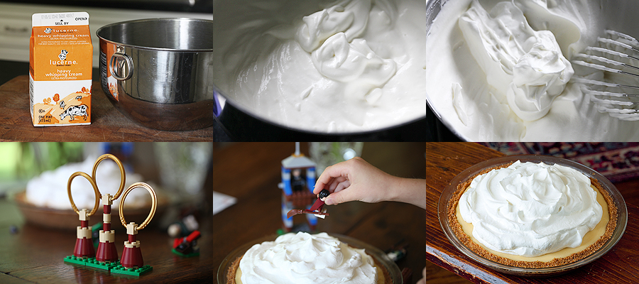 photo of preparing whipped cream for pie