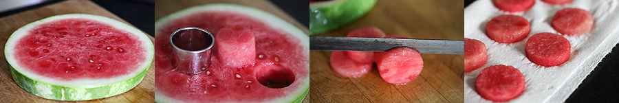 photos of creating watermelon slices