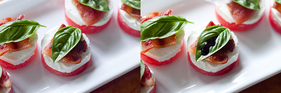 photos of watermelon and goat cheese appetizers