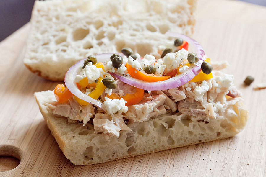 Tuna on Ciabatta with Oil and Vinegar