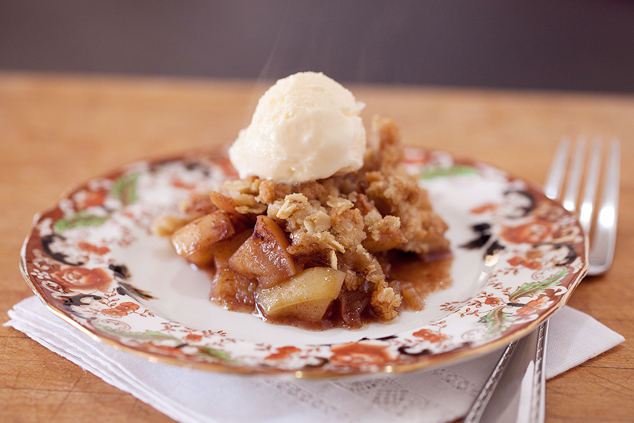 photo of apple crisp with ice cream