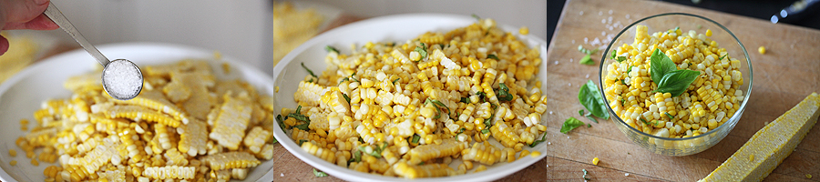 photo of steps for preparing recipe for fresh corn and sea salt
