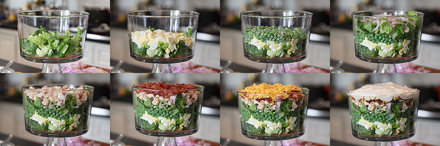 photos of how to assemble eight layer salad