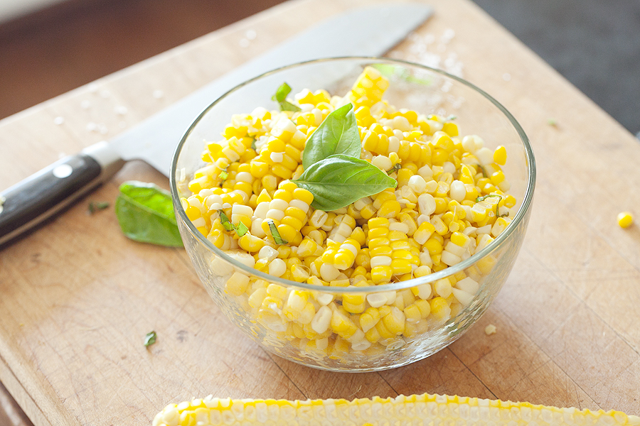 Photo of bowl of fresh corn with sea salt