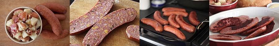 photo of potato salad and sausages