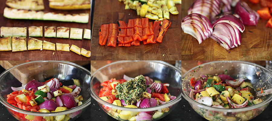 photo of how to chop grilled vegetables and mix with pesto