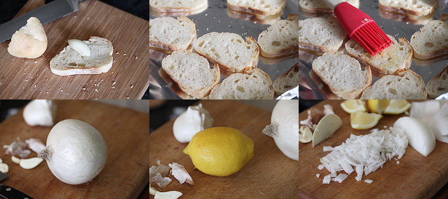 photo of how to prepare baguette for smoked salmon service