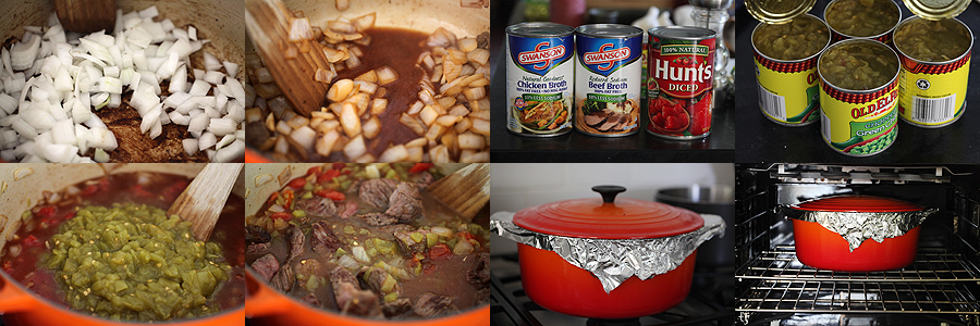 photo of how to prepare green chile beef stew