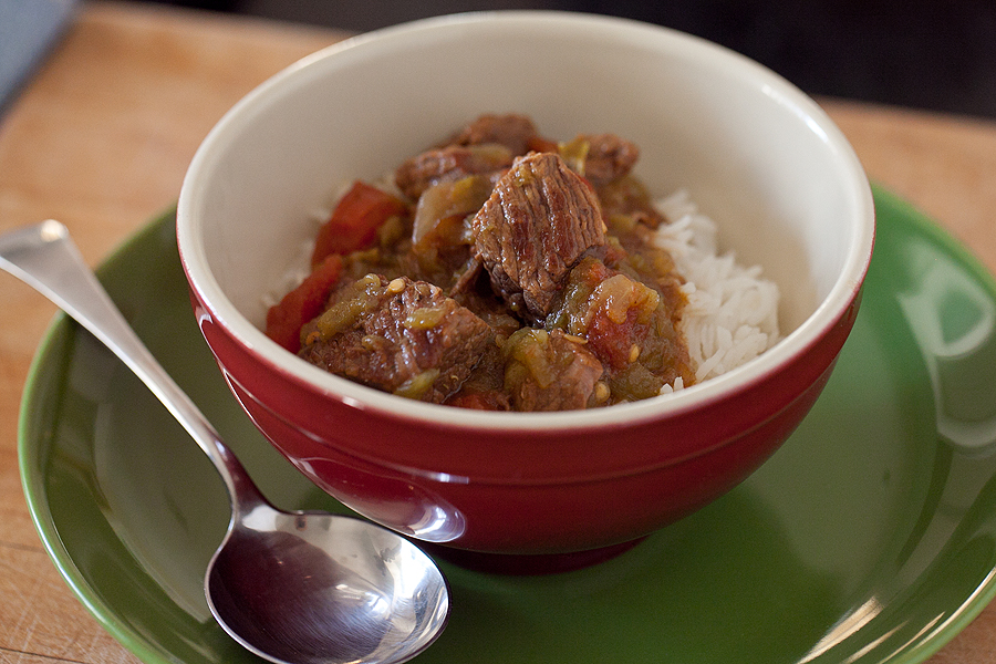 photo of a bowl of green chile beef stew