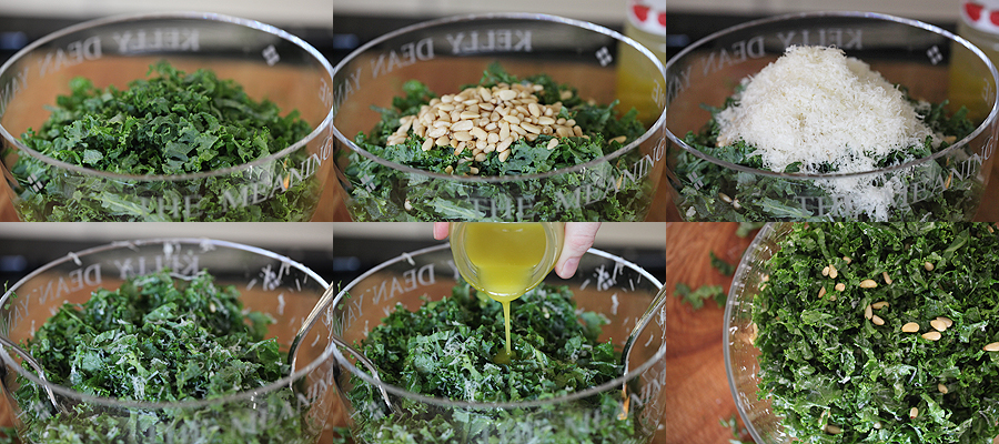 photo of how to assemble kale salad