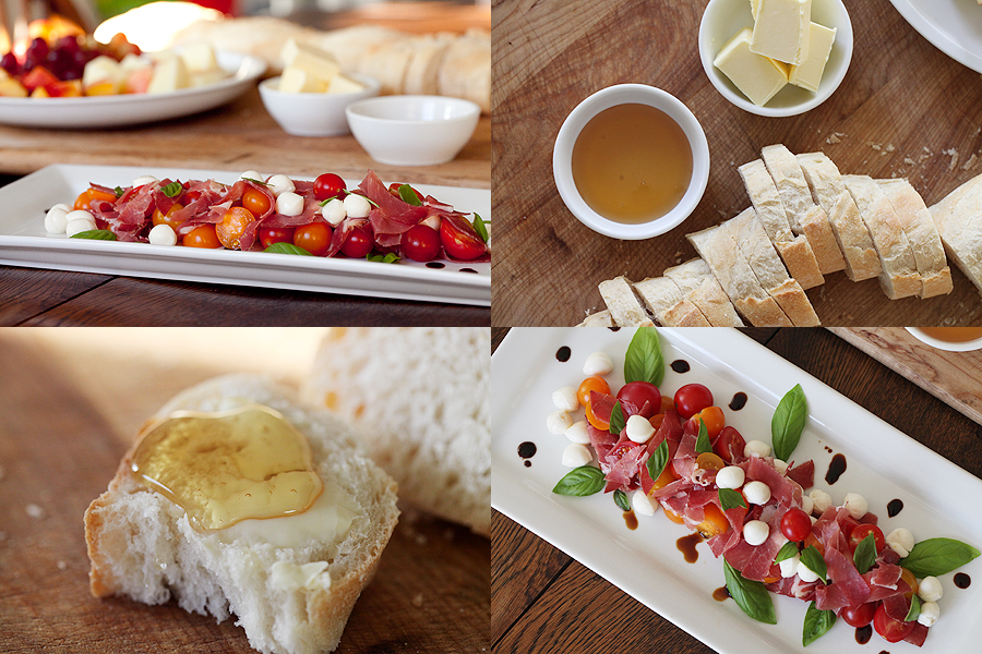 photos of insalata caprese and bread with honey