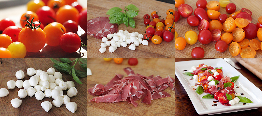 photo of ingredients for tomatoe and coppa salad