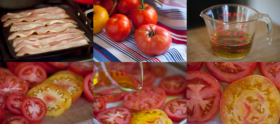 photos of how to make tomato confit and bacon