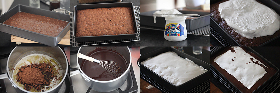 photo of baking and icing for mud cake