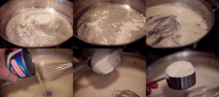 Photo making cream sauce