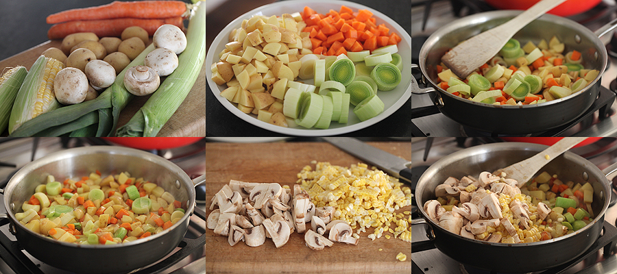 photo of vegetables for chicken pot pie filling