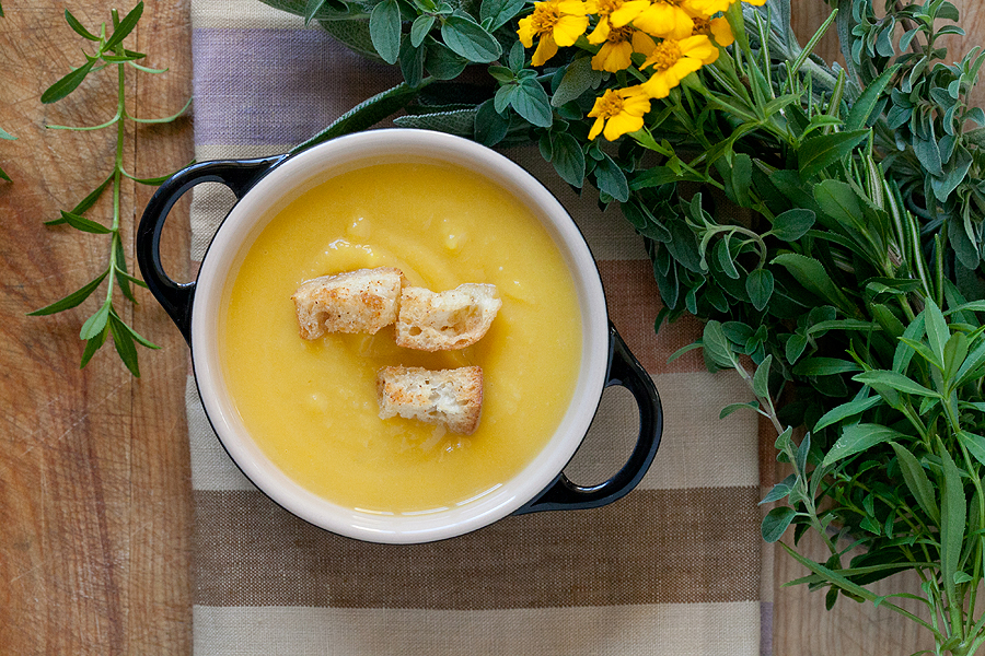 Acorn Squash Soup with Spicy & Sweet Maple Sugar Croutons