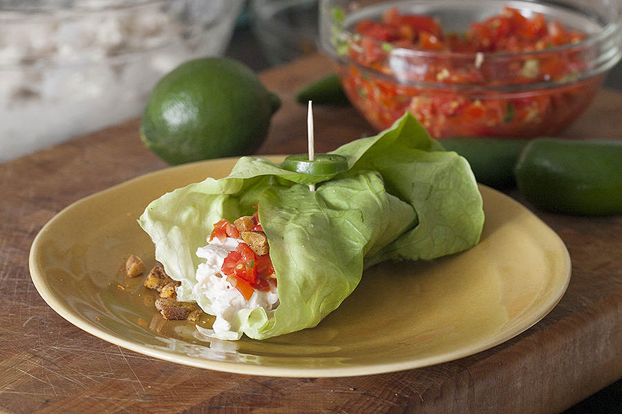 Jalapeno Chicken Salad Wraps with Spicy Pecans