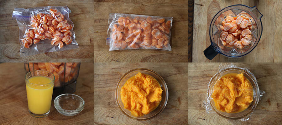 Photograph of Process of Making Mandarin Granita