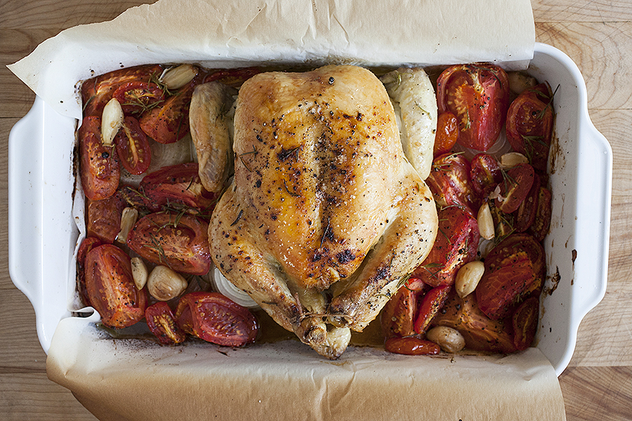a photograph of a roast chicken