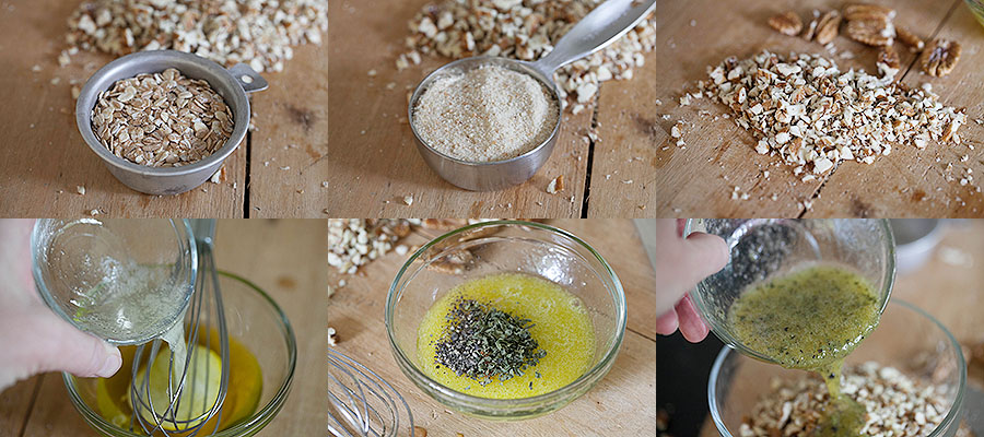 images of steps to prepare savory granola